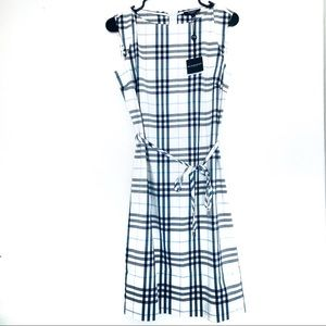 NWT Burberry White Blue Plaid Dress